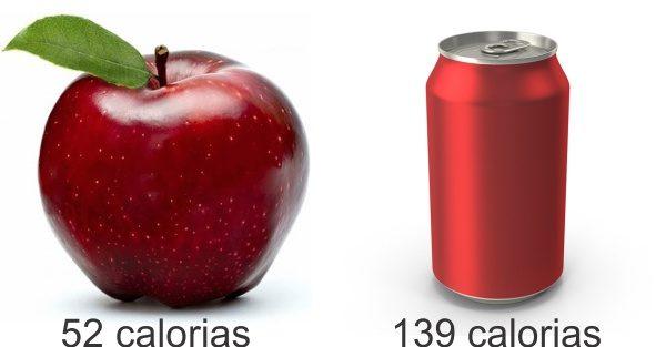 Quantas calorias tem uma maçã e uma coca cola