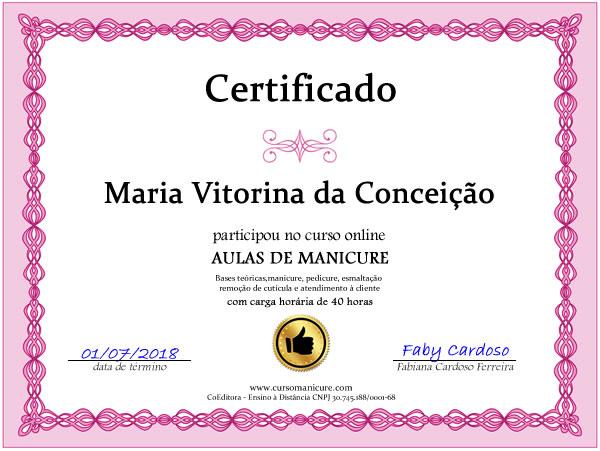 Certificado de conclusão do curso de manicure